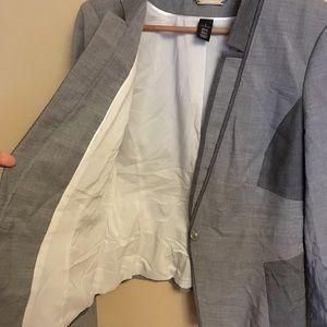 White House Black Market Jackets & Coats - White House Black Market Gray Contrast Suit Jacket